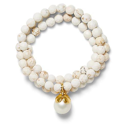 14-Kt Triple-Wrap Bracelet, White Turquoise