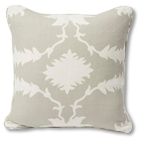 Garden 18x18 Pillow, Dove/Ivory Linen