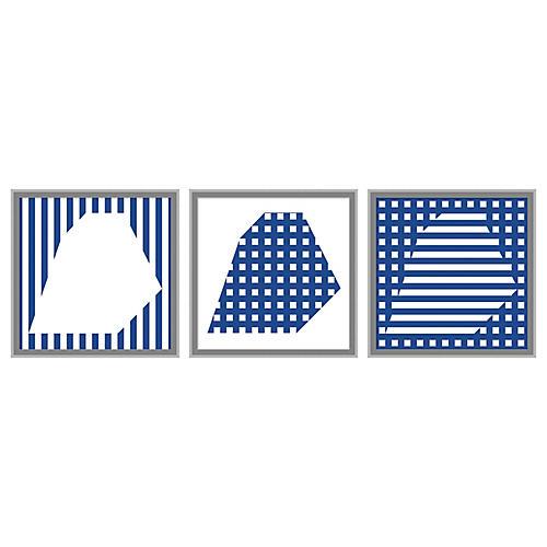 Navy Rhombus Set of 3