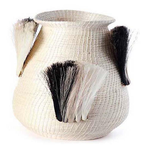 "12"" Fanned-Out Bulbous Vase, Cream/Black"
