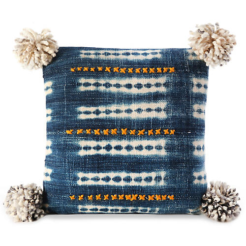 Bogolan 16x16 Pillow, Indigo/Gray