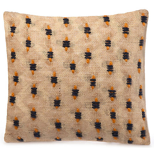 Kusuka 18x18 Pillow, Flax/Navy