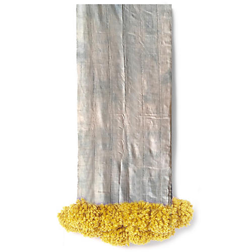 Mud-Cloth Pom-Pom Throw, Chambray/Citron