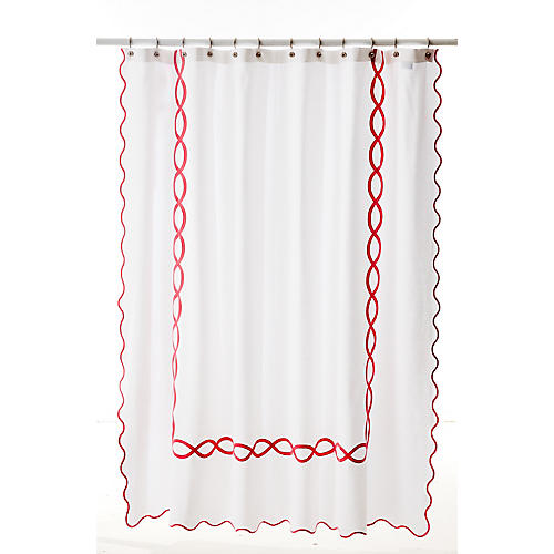 Gianna Shower Curtain, Shocking Pink