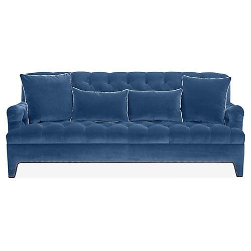 Beverly Tufted Sofa, Blue Velvet