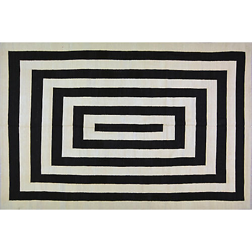 """6'7""""x9'9"""" Mohi Rug, Black/White"""