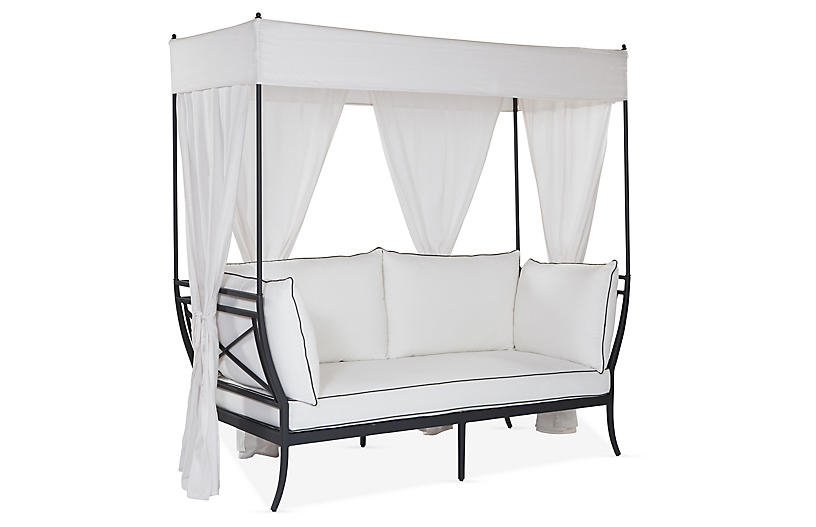 Winterthur Estate Canopy Daybed, White/Black