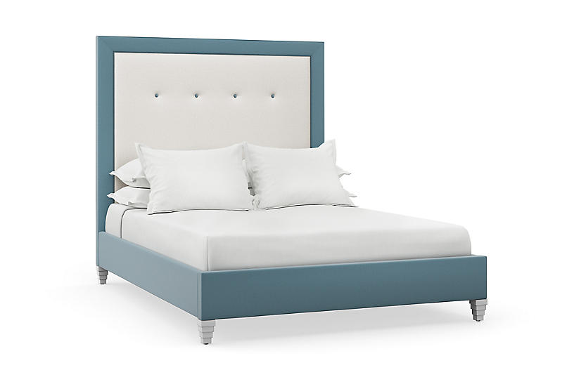 Penelope Bed, Natural/Blue Linen