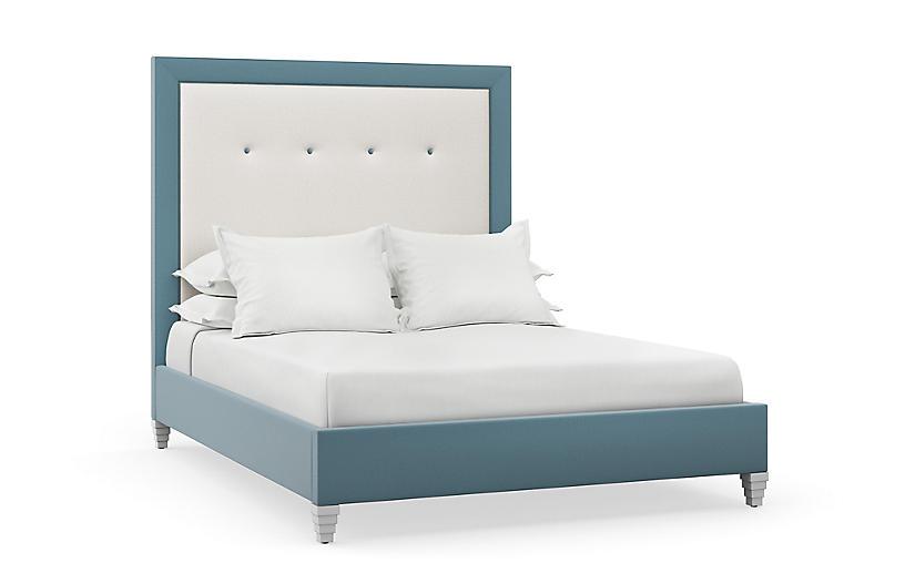 Penelope Bed, Natural/Blue Linen