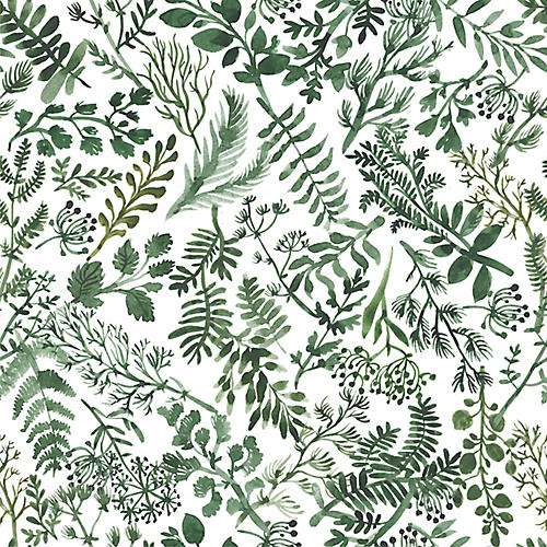 Herb Garden Wallpaper, White