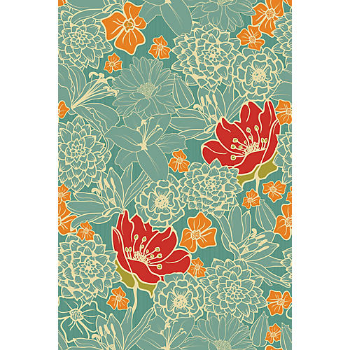 Zen Pond Wallpaper, Teal