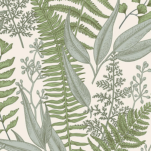 Removable Botanical Light Wallpaper, Sage