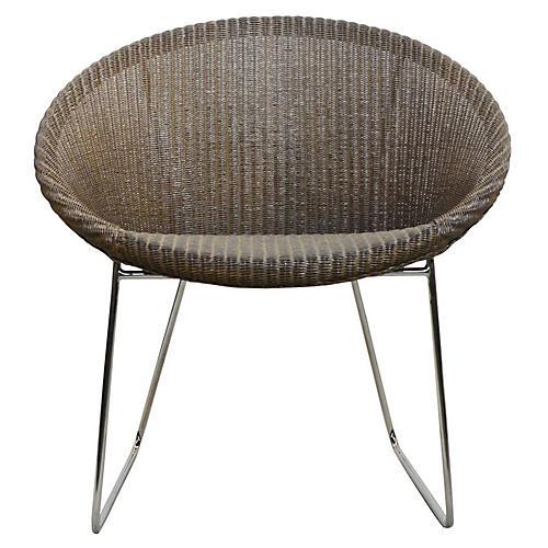 Lazy Joe Lounge Chair, Greige/Silver