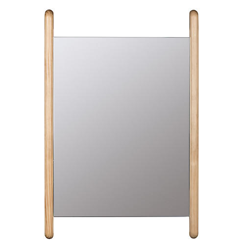 Charlie Rectangular Wall Mirror, Light Brown
