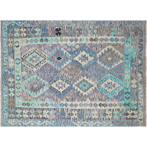 "4'11""x6'7"" Afghan Maimane Kilim Rug, Blue"
