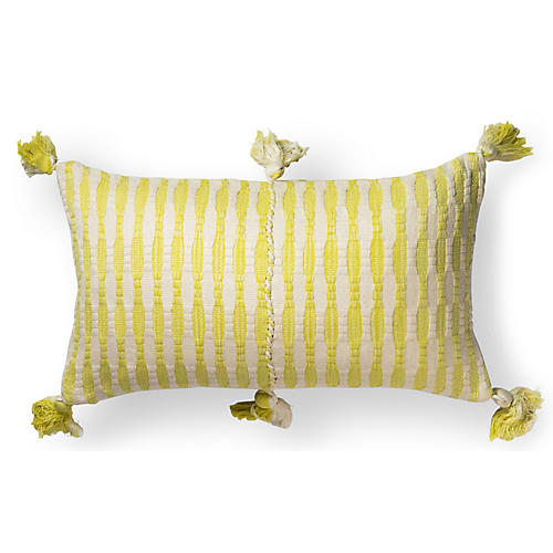 Antigua 12x20 Lumbar Pillow, White/Yellow