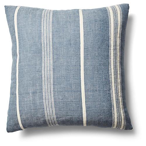 Amare 26x26 Stripe Pillow, Navy/Natural
