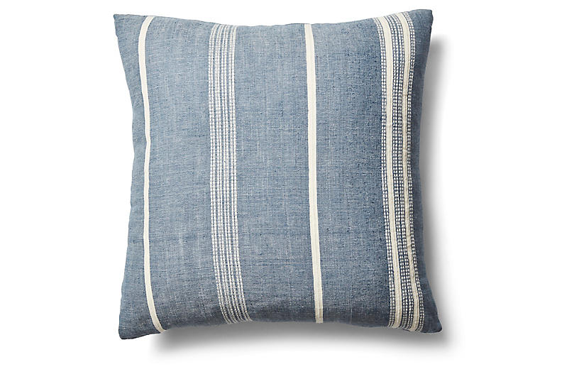 Amare 26x26 Stripe Pillow, Navy/Natural