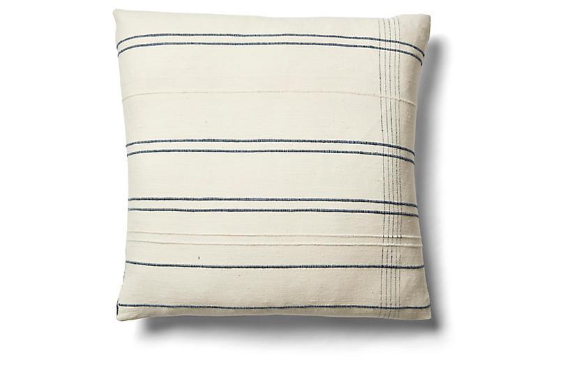 Kali 26x26 Windowpane Pillow, Navy/Cream