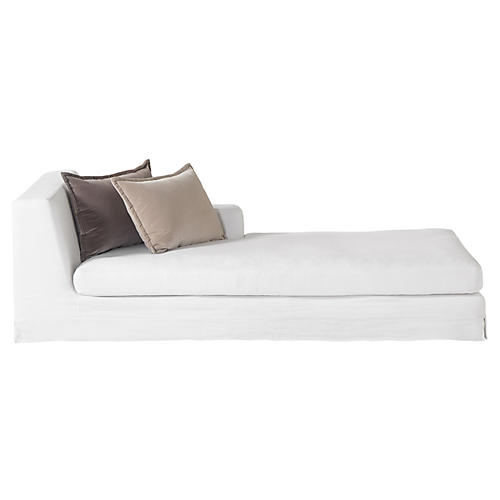 Jackson Right-Facing Chaise, Ivory Linen