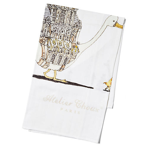 Goose Cotton Swaddle, White/Multi