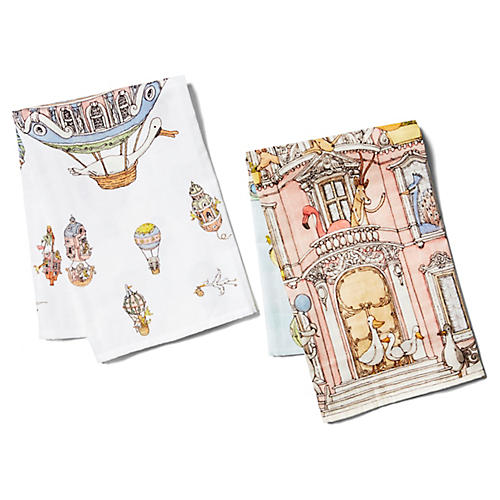 Classics Cotton Burp Cloth Gift Set, White/Multi