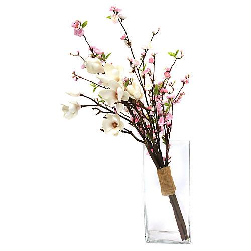 """36"""" Magnolia & Blossom Arrangement w/ Vase, Faux"""
