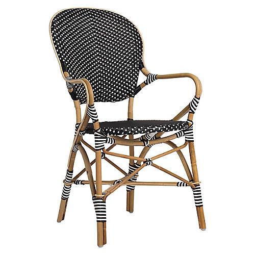 Isabell Bistro Armchair, Black/White