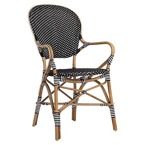 Isabell Bistro Armchair, Black/White