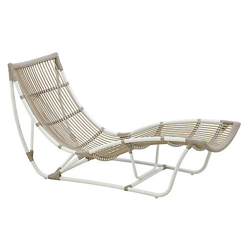 Michelangelo Outdoor Chaise, Dove White