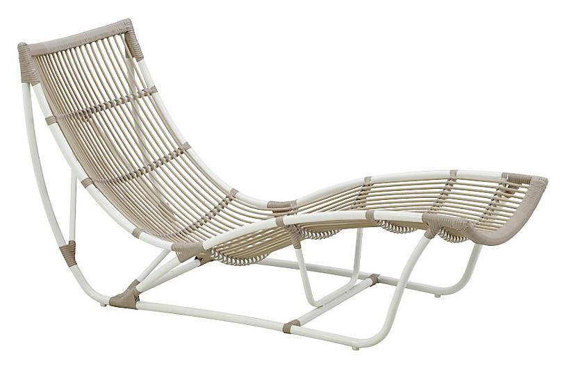 Michelangelo Outdoor Chaise, Dove White