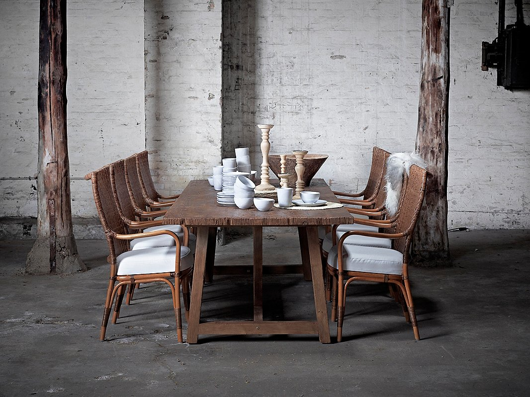 Some tables from Sika Design, such as the Lucas above, are made from reclaimed teak. Most of its furniture, though (including the Piano armchairs shown above), is made with highly sustainable rattan.