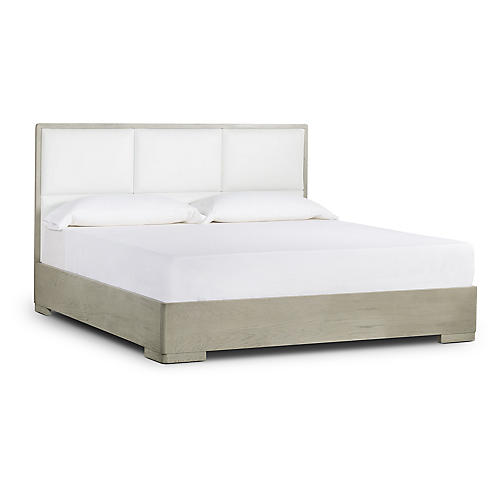 Newman Bed, White Leather