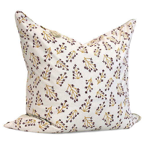 Normandy Branch 26x26 Pillow, Gold/Cranberry