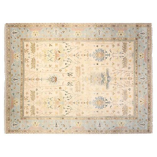 9'x12' Sari Wool Michelle Rug, Ivory/Blue