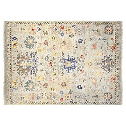 9'x12' Sari Wool Alina Rug, Sky Blue