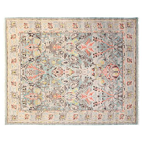 8'x10' Sari Wool Elisa Rug, Aqua