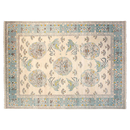 9'x12' Sari Wool Khotan Rug, Ivory/Aqua
