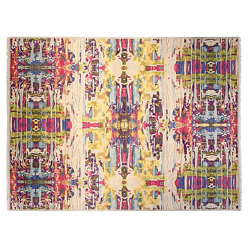 9'x12' Sari Wool Graphic Rug, Purple/Multi