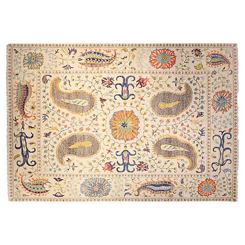 10'x14' Sari Wool Suzani Rug, Ivory