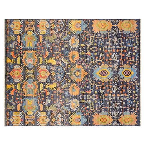 8'x10' Sari Wool Liam Rug, Navy