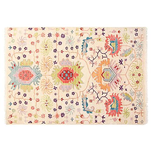 4'x6' Sari Wool Liam Rug, Ivory/Multi
