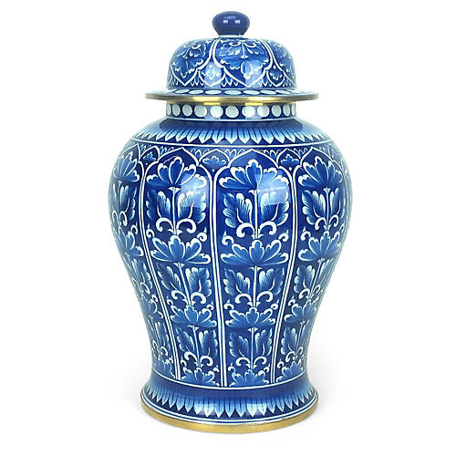 "15"" Leaf-Panel Ginger Jar, Blue/White"