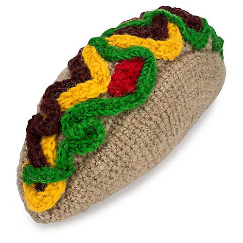 Taco Knit Dog Toy, Brown