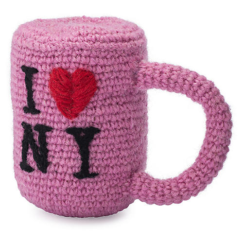 I Love NY Knit Dog Toy, Pink