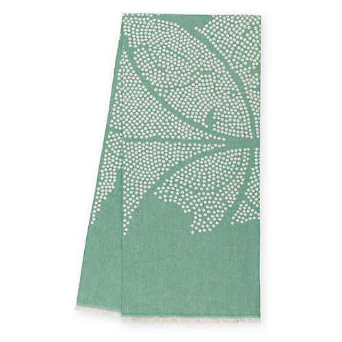 Atlas Reversible Cotton Throw, Leaf Green