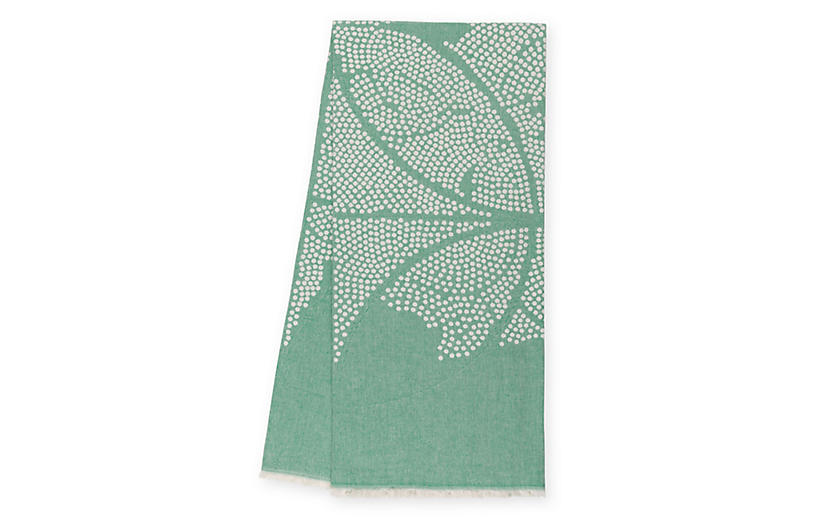 Atlas Reversible Cotton Throw, Leaf Green
