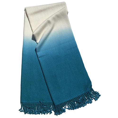 Dip-Dye Alpaca Throw, Peacock