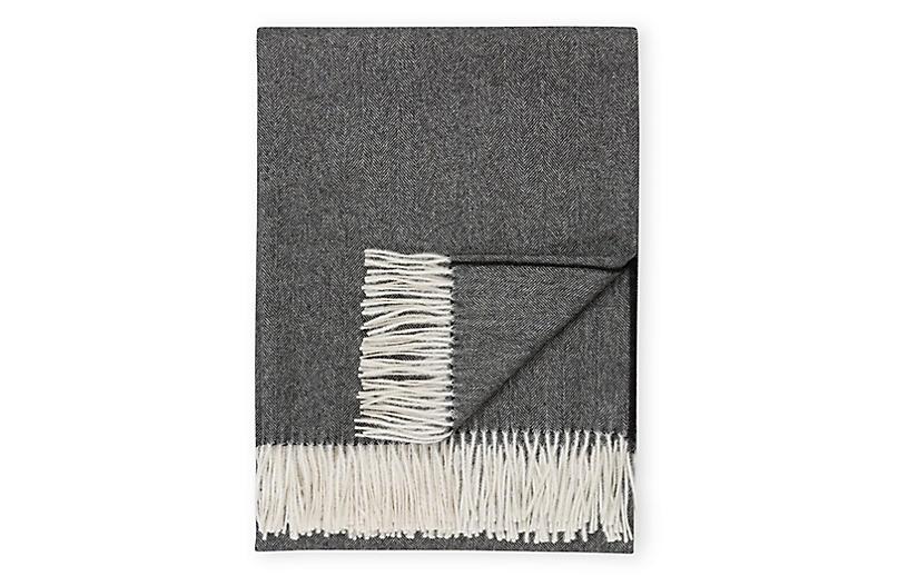 Madison Alpaca Throw, Black Herringbone