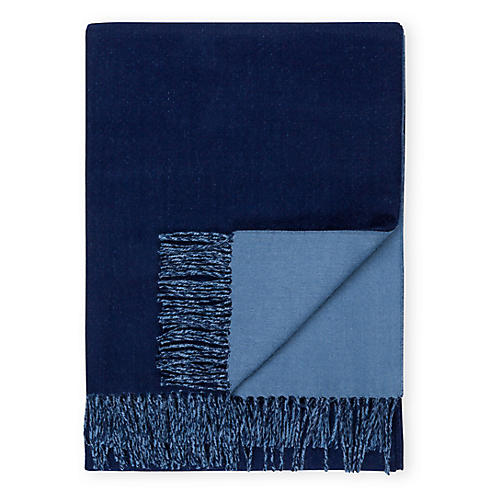 Reversible Alpaca Throw, Navy/Periwinkle